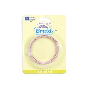 Artistic Wire Rose Gold Colour Round Braid Wire, 16 Gauge/1.3mm, 7.5ft/2.29m