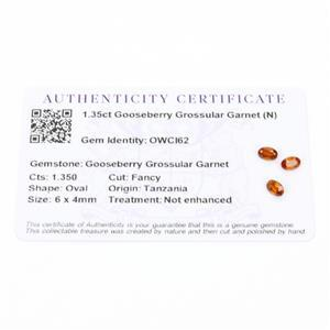 1.35cts Gooseberry Grossular Garnet 6x4mm Oval Pack of 3 (N)