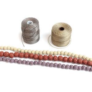 Red Earth kit inc New Lava Rounds ~8mm 38cm strand & two ~6mm strands & cords