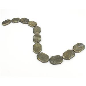 1060cts Pyrite Faceted Slabs Approx 35x25mm, Approx 38cm strand