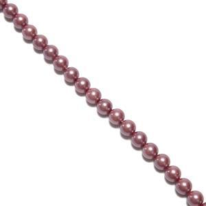 Pale Raspberry Shell Plain Rounds Approx 6mm, 38cm Strand