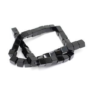 310cts Black Agate Cubes Approx 8mm, 38cm Strand