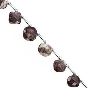 58cts Rubellite Quartz Corner Drill Faceted Cushion Approx 10.50 to 13.50mm, 18cm Strand with Spacers