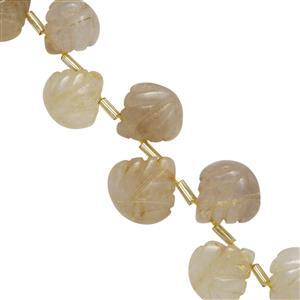 100cts Golden Rutile Quartz Side Drill Carved Leaves Approx 9x8 to 16x15.50mm, 20cm Strand With Spacers