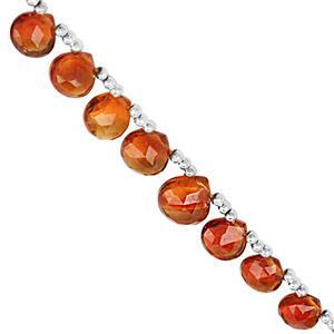 22cts Mandarin Citrine Top Side Drill Graduated Faceted Heart Approx 4 to 7mm, 21cm Strand With Spacers