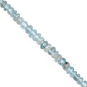 30cts Blue Zircon Faceted Rondelle Approx 3x1 to 5x3mm, 15cm Strand