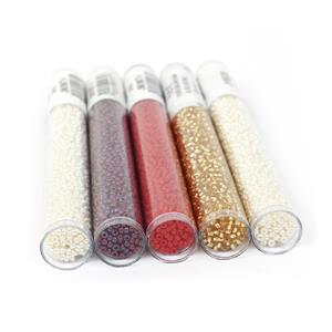 Ruby Woo; 2x Ivory, Opaque Maroon, S/L Gold & Cranberry Gold 11/0 Seed Beads & Booklet