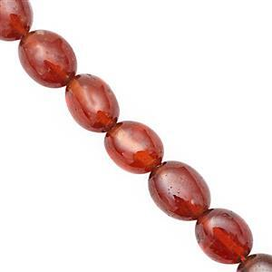90cts Hessonite Garnet Smooth Oval Approx 5x4 to 8.5x6.5mm, 40cm Strand