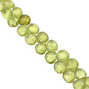 58cts Peridot Top Side Drill Faceted Heart Approx 5.5 to 6.5mm, 20cm Strand