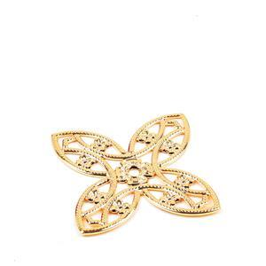 Italian Gold Plated Base Metal Pierced Flower Approx 39X56mm (1pc)
