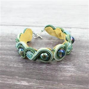 Aquatic Adventures: green/blue Soutache, seedbeads & green coated quartz rds