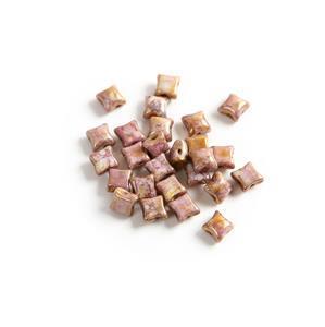 Czech WibeDuo Beads - Chalk White Lila Gold Lustre, 8x8mm (25pcs)