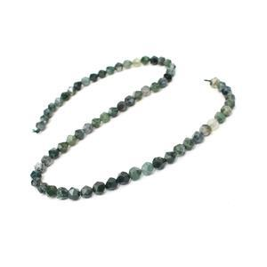 70cts Moss Agate Star Cut Rounds Approx 6mm, 38cm Strand