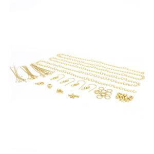 Gold Plated Base Metal Essential Findings Pack (75pcs)