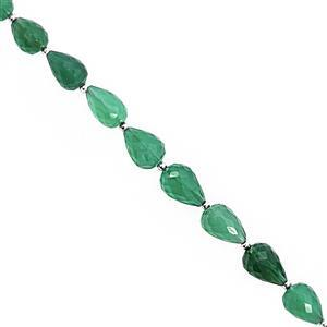 45cts Green Onyx Center Drill Graduated Faceted Drops Approx 6x4 to 9x7mm, 18cm Strand with Spacers