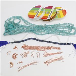 True Blue; Sky Blue Apatite, Dumortierite, White Agate, Rose Gold Thread & Findings 75pcs