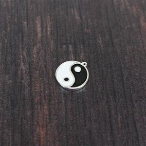 925 Sterling Silver Ying Yang Enamel Pendant Approx. 17X15mm