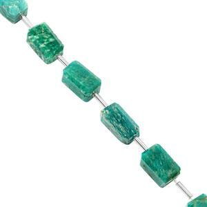 85cts Russian Amazonite Faceted Tumble Approx 9x7.5 to 14.5x9.5mm, 17cm Strand with Spacers
