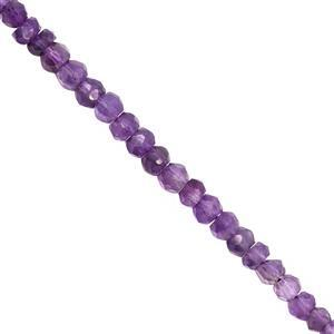 28cts Amethyst Graduated Faceted Rondelle Approx 3x2 to 4x3mm, 32cm Strand