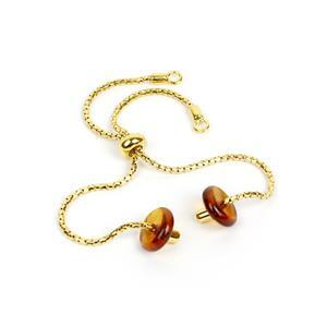 Gold Plated Sterling Silver Slider Bracelet with Baltic Cognac Amber Discs