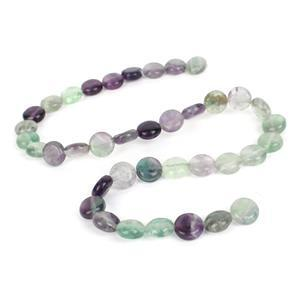 190cts Multi-colour Fluorite Coins Approx 10mm, 38cm Strand