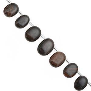 76cts Golden Sheen Obsidian Graduated Corner Drill Smooth Oval Approx 9x8 to 16x7mm, 18cm Strand with Spacers