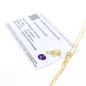 Gold Oval Moroccan Amethyst Necklace Kit; Mount, 8x6mm Amethyst & Curb Chain