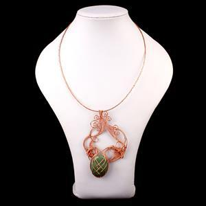 Aventurine Dream; 55cts Oval & 80cts Aventurine Heart, 74m Rose Gold Coloured Wire