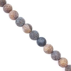 450cts Brown Frosted Crackled Agate Plain Rounds Approx 14mm, Approx 38cm strand