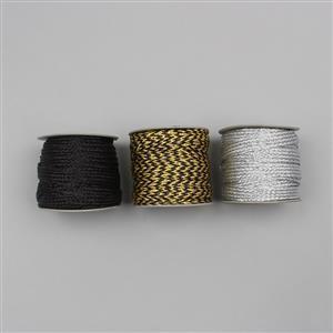 30m Black, Golden Black & Silver Colour Zari Woven Ribbon Width Approx 12mm (3pcs)
