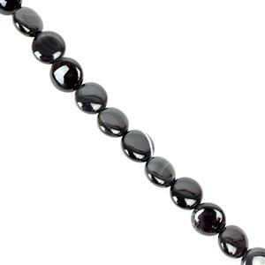 120cts Black Stripe Agate Puffy Coins Approx 10mm, 38cm/strand