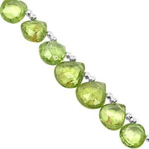 32cts Kashmir Peridot Top Side Drill Faceted Hearts Approx 4 to 7mm, 19cm Strand with Spacers