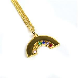Gold Plated 925 Sterling Silver Rainbow Pendant With CZ Approx mm, 1 x 3mm Jump Ring & 18inch Curb Chain