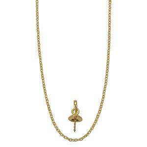 Gold Plated 925 Sterling Silver Bail With Peg & 18 Inch Chain