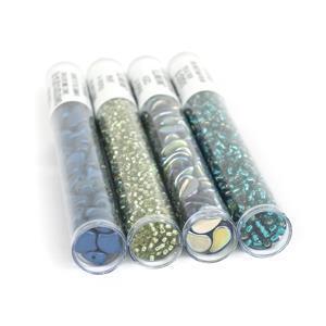 Peacock Plume; Czech Glass Ginko & Paisley Beads, Miyuki 8/0 & 11/0