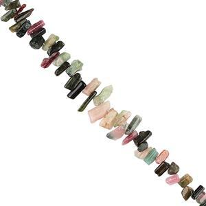 125cts Multi-Colour Tourmaline Graduated Rough Slices Approx 6x3 to 16x5mm, 22cm Strand.