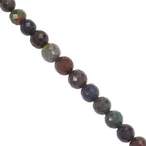 19cts Ethiopian Black Opal Faceted Round Approx 3mm to 5mm 19.5cm Strand