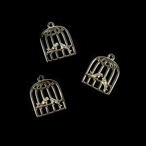 Gold Plated 925 Sterling Silver Love Bird Cage Charms Approx 10x13mm 3pcs