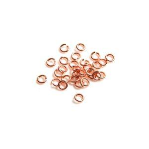 925 Rose Gold Plated Sterling Silver Open Jump Rings ID Approx 3mm. (Approx 30pcs)