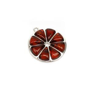 Baltic Cognac Amber Orange Pendant, Approx. 23mm