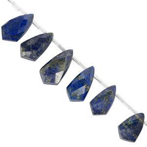 75ct Lapis Lazuli Faceted Pointed Pears 18x11 to 23x13mm, 10cm Better Beads Strand with Spacers