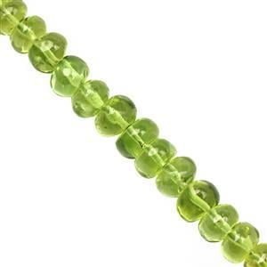 32cts Kashmir Peridot Plain Roundelles Approx 3.5x2.5 to 6x3mm, 12cm Strand