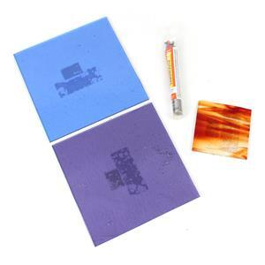 Clearly colours: Red, purple & blue glass sheets with variety glass frit