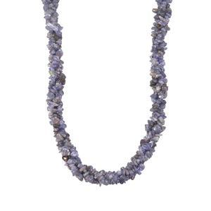 340ct Tanzanite Sterling Silver 3 Line Twisted Nugget Bead Necklace