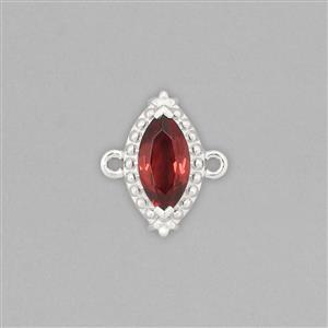 925 Sterling Silver Gemset Connector Approx 14x12mm Inc. 1.10cts Garnet Brilliant Marquise Shape Approx 10x5mm