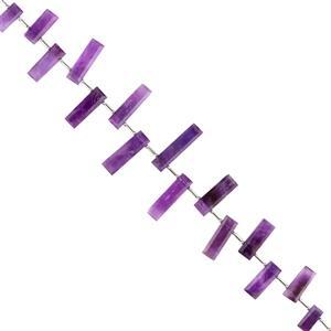 108cts Amethyst Graduated Faceted Bars Approx 13x6 to 25x6mm, 18cm Strand.