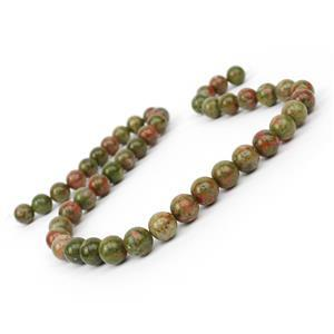 200cts Unakite Plain Rounds Approx 8-9mm, 38cm Strand