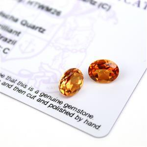 3.5cts Padparadscha Quartz 9x7mm Oval Pack of 2 (C)