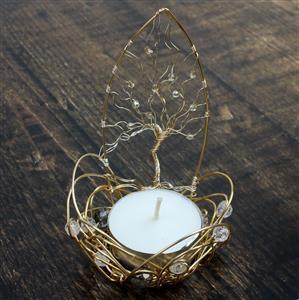 Tea-light holder; 30m Champagne Gold Wire, Miyuki Baroque White Pearl 6/0's & Swarovski