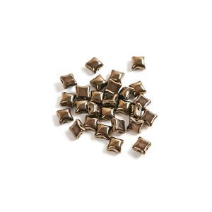 Czech WibeDuo Beads - Jet Gold, 8x8mm (25pcs)